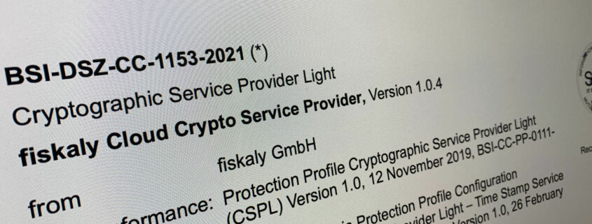 Certification of fiskaly Cloud Crypto Service Provider