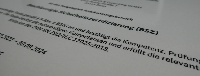 BSZ Zertifikat